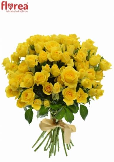 Kytice 100+ květů růží YELLOW BABE 40cm