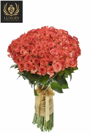 Kytice 100 luxusních růží BLUSH 70cm