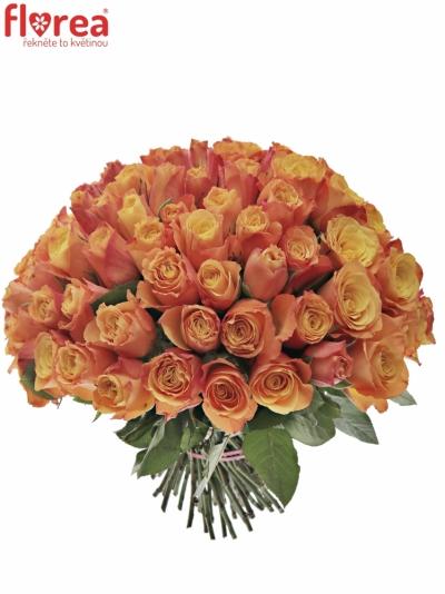 Kytice 100 oranžových růží CONFIDENTIAL 50cm