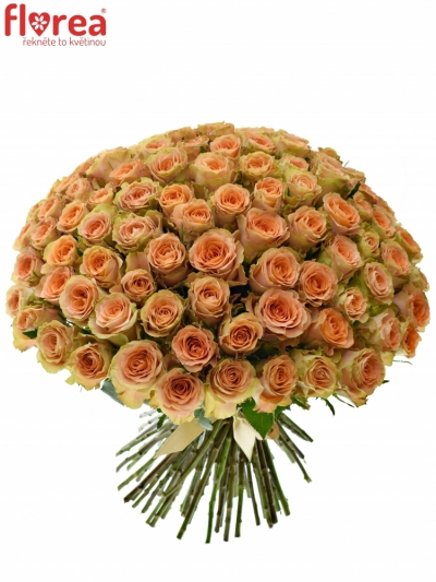 Kytice 100 oranžových růží FLORENTINE 90cm