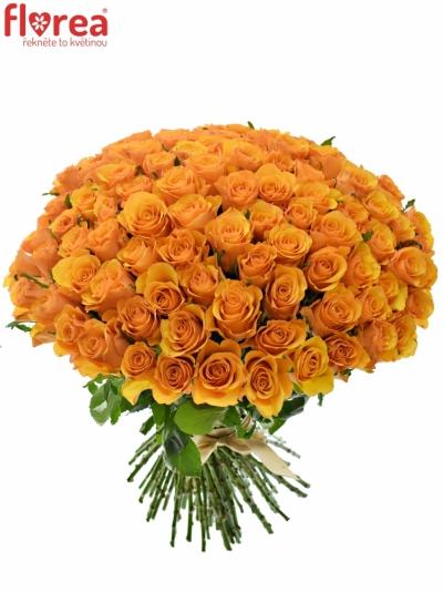 Kytice 100 oranžových růží TYCOON 60cm