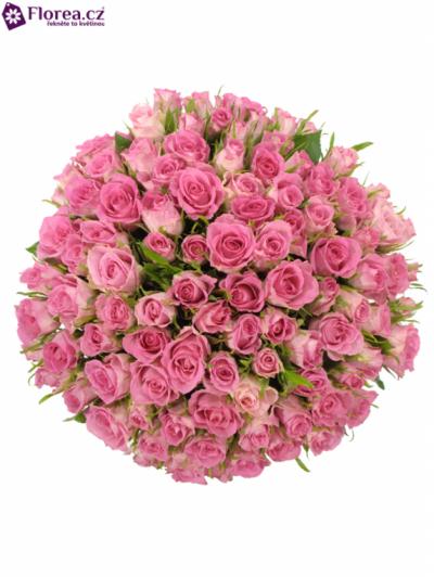 Kytice 100 růžových růží TISENTO 40cm