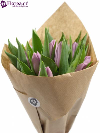 Kytice 15 fialových tulipánů CANDY PRINCE 35cm- papír