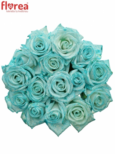Kytice 15 ledově modrých růží ICE BLUE VENDELA 70cm
