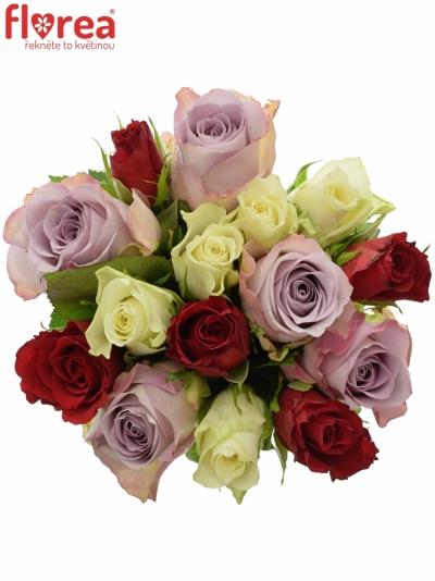 Kytice 15 míchaných růží DEVORA 40cm