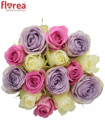 Kytice 15 míchaných růží LIGHT LORRIESS 40cm