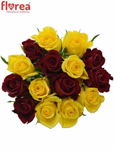 Kytice 15 míchaných růží RED DELTA 40cm