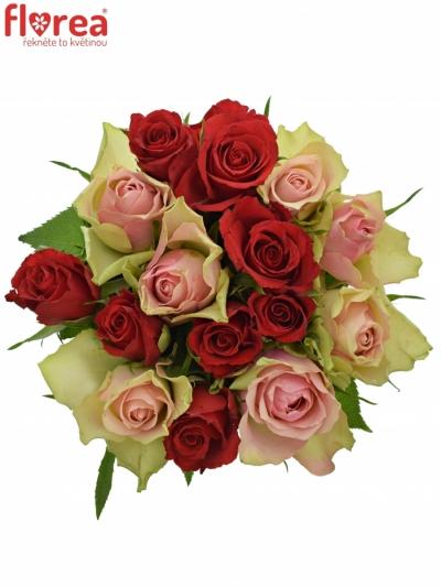 Kytice 15 míchaných růží ROSEBELLINE 50cm