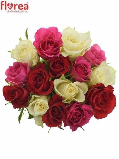 Kytice 15 míchaných růží WHITE GRACIANA 35cm