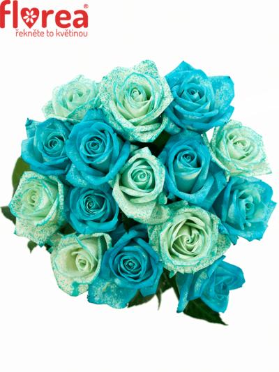 Kytice 15 modrých růží ICE BLUE ADRIANA