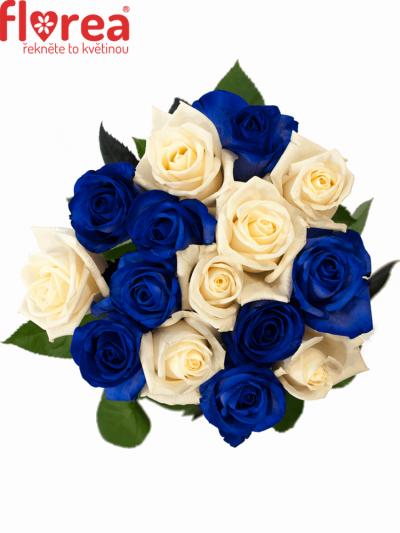 Kytice 15 modrých růží MARIANNA 40cm