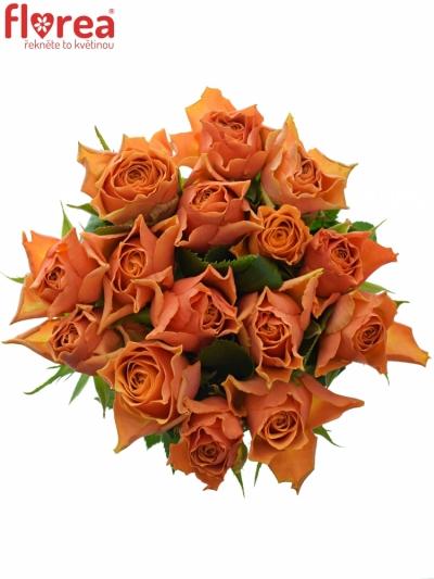 Kytice 15 oranžových růží ARANCIO 40cm