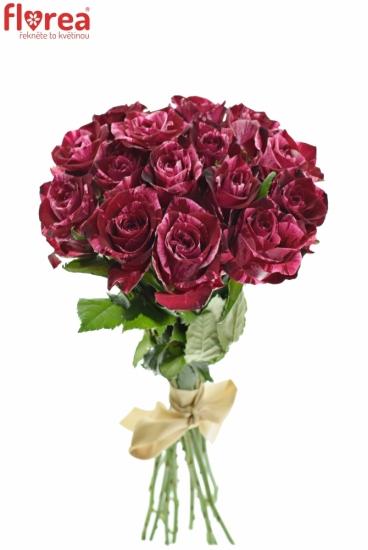 Kytice 15 žíhaných růží RED STORM