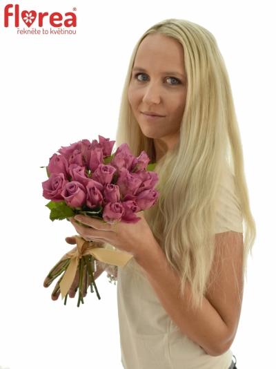Kytice 21 fialových růží NEW ORLEANS 40cm