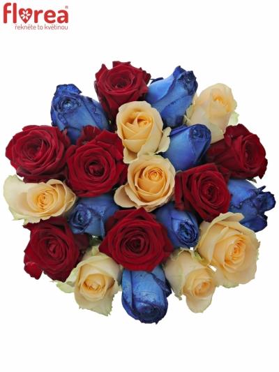 Kytice 21 míchaných růží MARRINETA 50cm