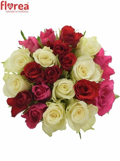 Kytice 21 míchaných růží WHITE GRACIANA 35cm