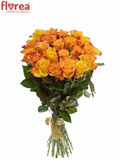 Kytice 21 oranžových růží TIEBREAK 60cm