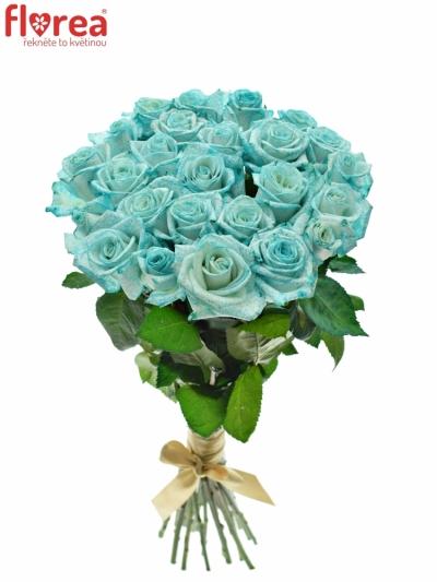 Kytice 25 ledově modrých růží ICE BLUE VENDELA
