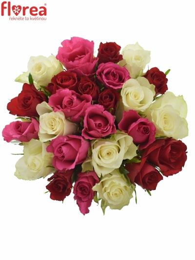 Kytice 25 míchaných růží WHITE GRACIANA 35cm