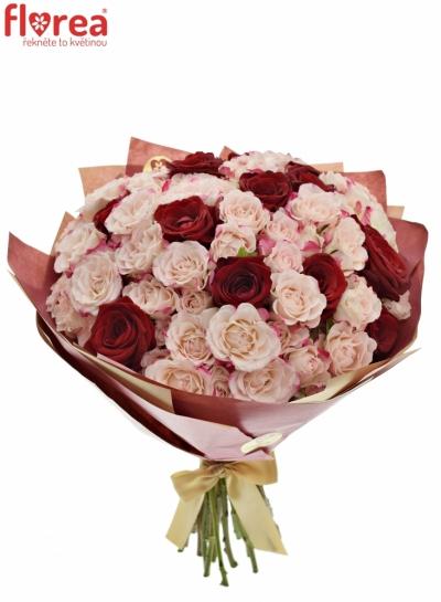Kytice 33 míchaných růží RED REFLEXA 40cm