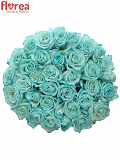Kytice 35 ledově modrých růží ICE BLUE VENDELA 60cm