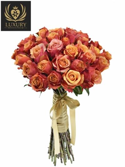 Kytice 35 luxusních růží CHERRY BRANDY 70cm