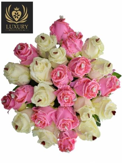 Kytice 25 luxusních růží CHOCOLATIA 60cm (L)