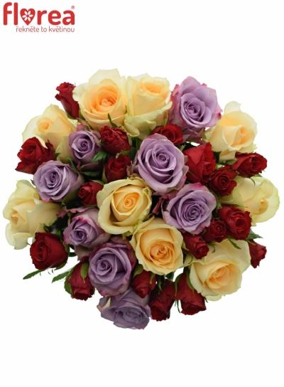 Kytice 35 míchaných růží BLUE AGATA 40cm