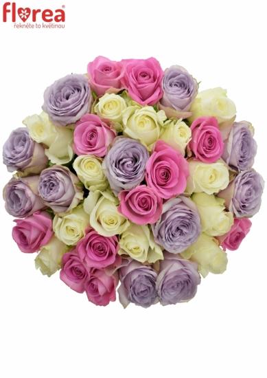 Kytice 35 míchaných růží LIGHT LORRIESs 40cm
