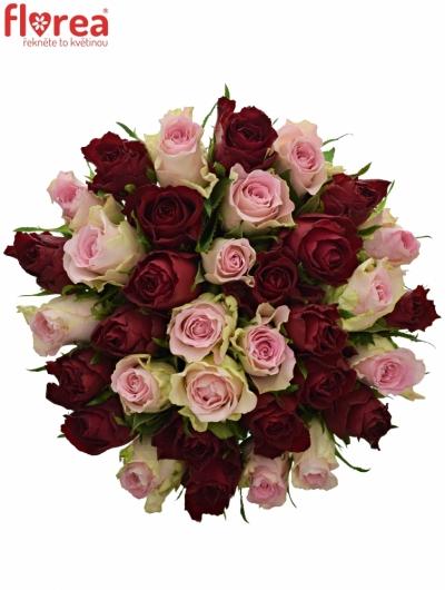 Kytice 35 míchaných růží MADAM BISOU 50cm