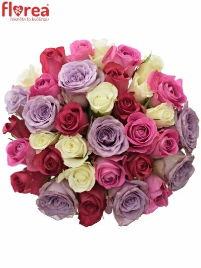Kytice 35 míchaných růží PURPLE NAOMI 40cm