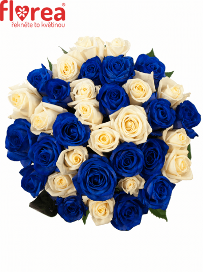Kytice 35 modrých růží MARIANNA 40cm