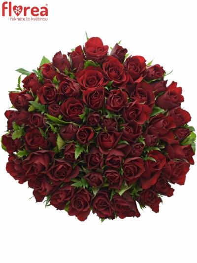 Kytice 55 červených růží RHYTHM 50cm