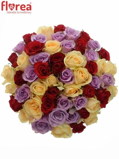 Kytice 55 míchaných růží DEVORAH 40cm