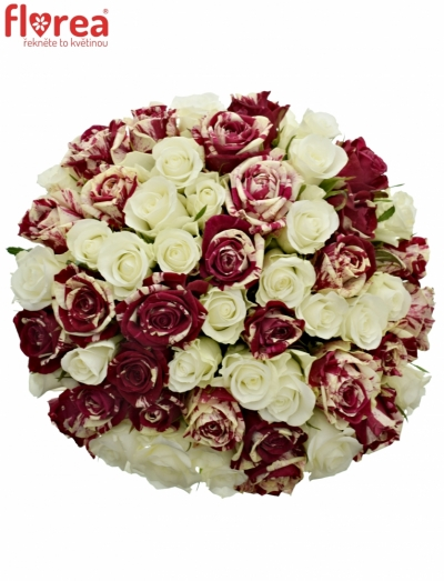Kytice 55 míchaných růží HARLESPEN