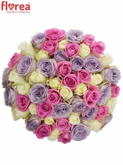 Kytice 55 míchaných růží LIGHT LORRIESs 50cm