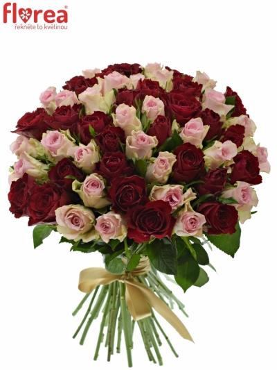 Kytice 55 míchaných růží MADAM BISOU 50cm