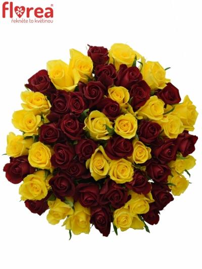 Kytice 55 míchaných růží RED DELTA 40cm