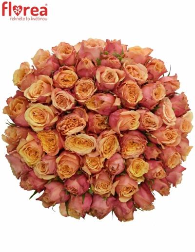 Kytice 55 oranžovočervených růží ALTAMODA 60cm
