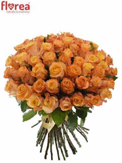 Kytice 55 oranžových růží MONALISA 50cm