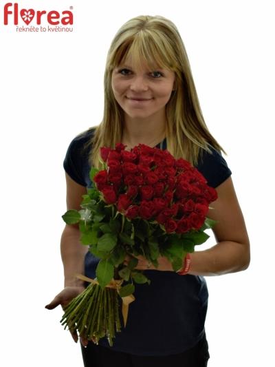 Kytice 55 růží RED CALYPSO v délce 50cm