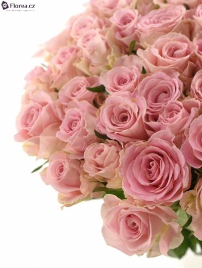 Kytice 55 růžových růží BABYFACE