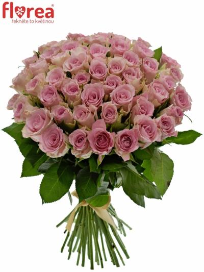 Kytice 55 růžových růží BISOU 50cm