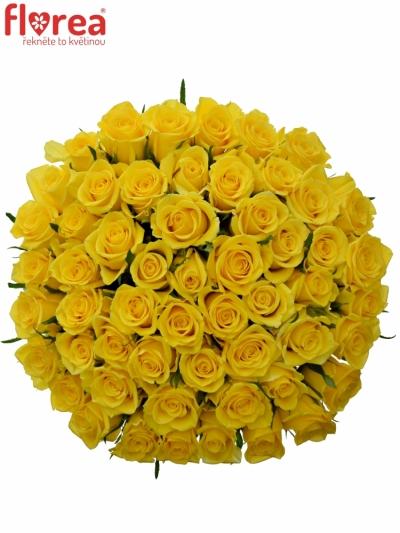 Kytice 55 žlutých růží MOONWALK 50 cm