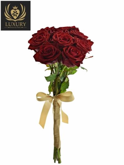 Kytice 9 luxusních růží TESTAROSSA 50cm