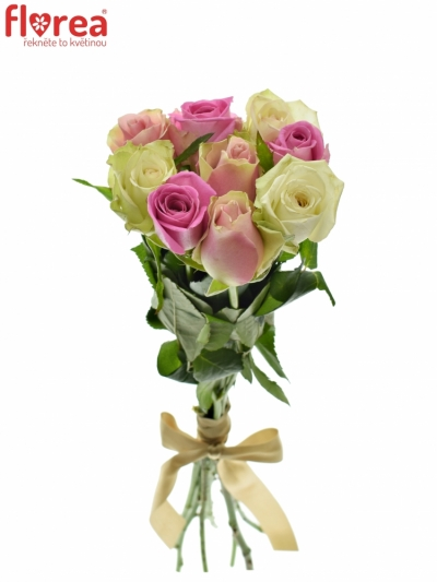 Kytice 9 míchaných růží FIOLA