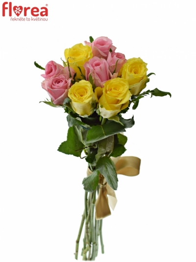 Kytice 9 míchaných růží SHANLEY 50cm