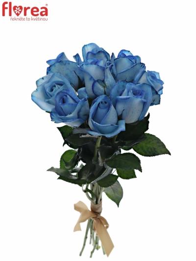 Kytice 9 modrých růží LIGHT BLUE SNOWSTORM