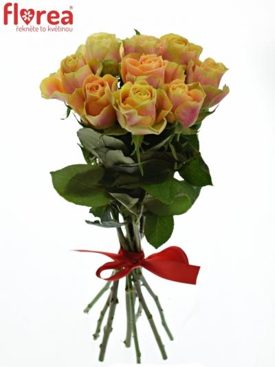Kytice 9 oranžových růží MARACUJA 40cm